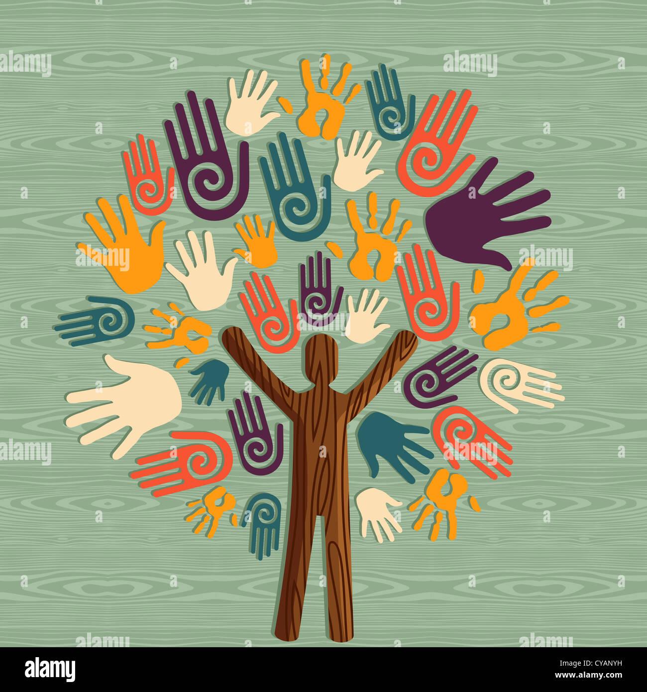 Diversidad Global al hombre como árbol del tronco manos ilustración. Capas de archivo vectorial para una Imagen De Stock