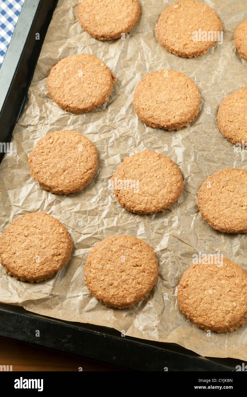 En la hoja de hornear galletas de avena recién horneado Imagen De Stock