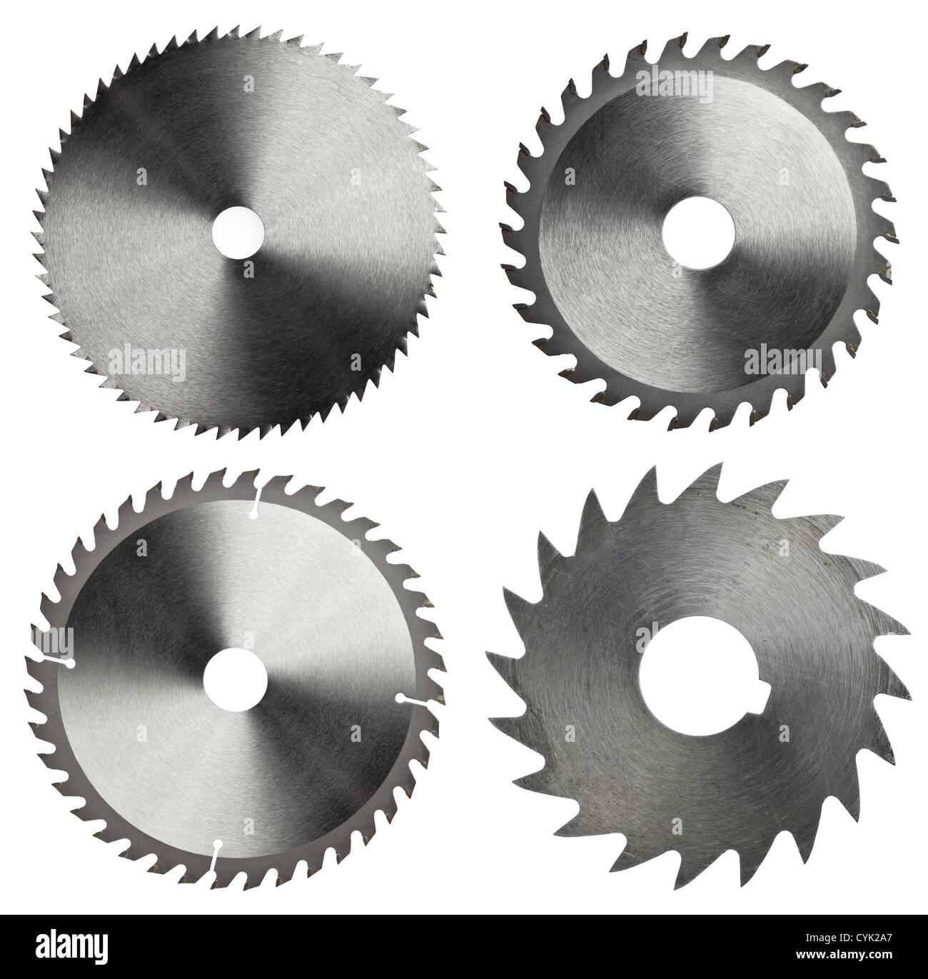 Hojas de sierra circular para trabajos en madera Foto de stock