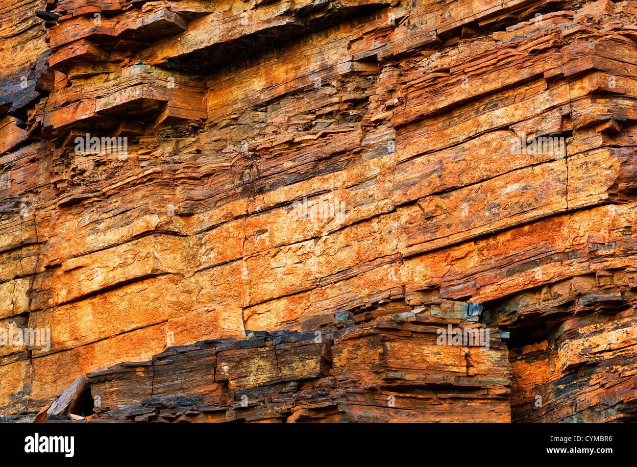 Pared de roca en Dales Gorge. Imagen De Stock