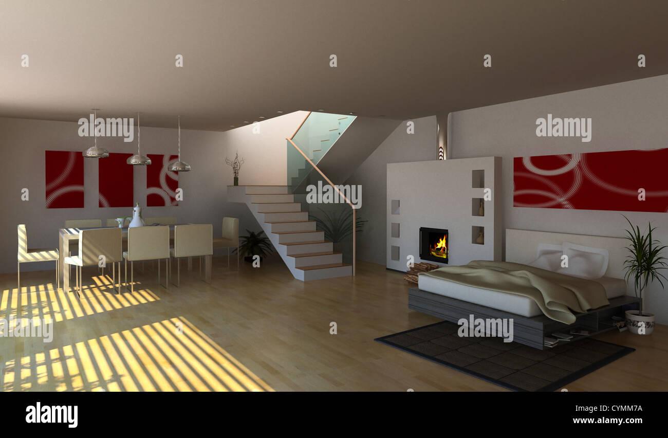 Diseño de interiores moderno (3D) Imagen De Stock