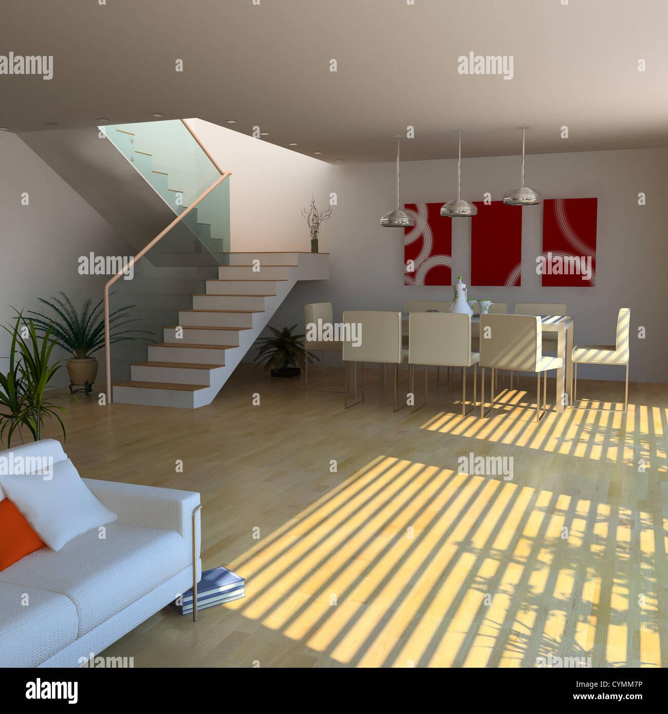 Diseño de interiores moderno(3D) Imagen De Stock