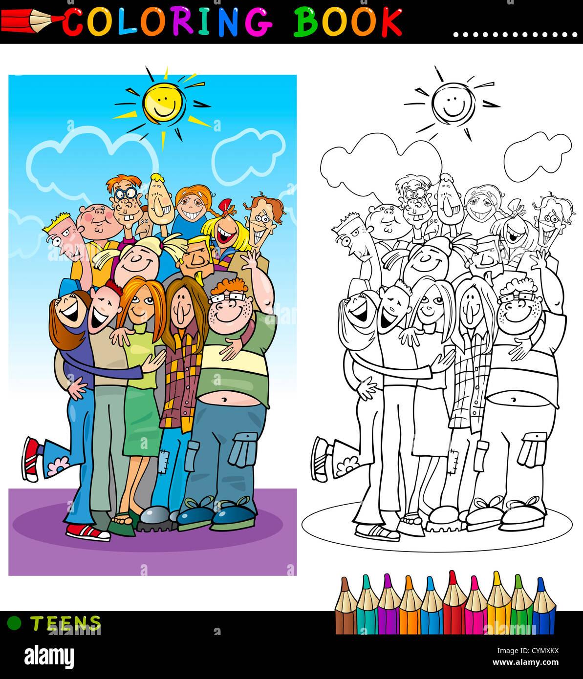 Libro para colorear o página Cartoon Ilustración de hacer felices a ...