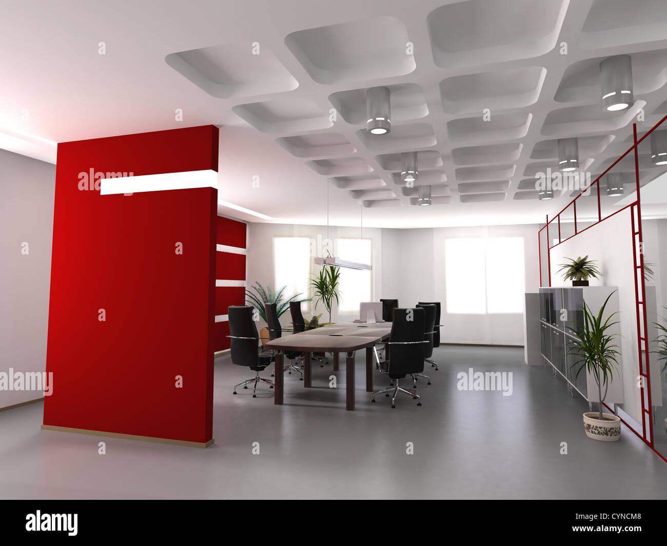 La oficina de moderno diseño interior (3D Render Foto & Imagen De ...