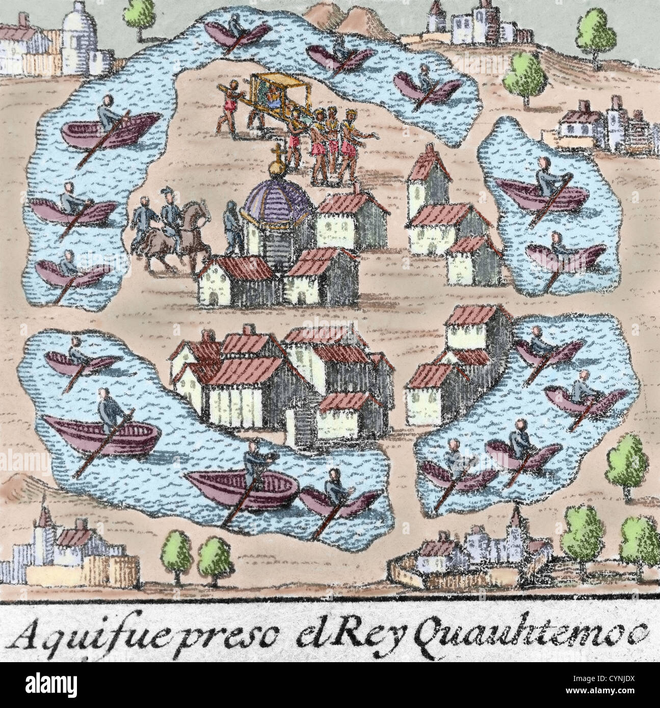 Cuauhtemoc 1495 1525 último Emperador Azteca Grabado De Color