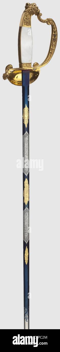 Una pequeña espada bávara para funcionarios, Regency período, de 1886 a 1912 hoja recta, grabados, Imagen De Stock