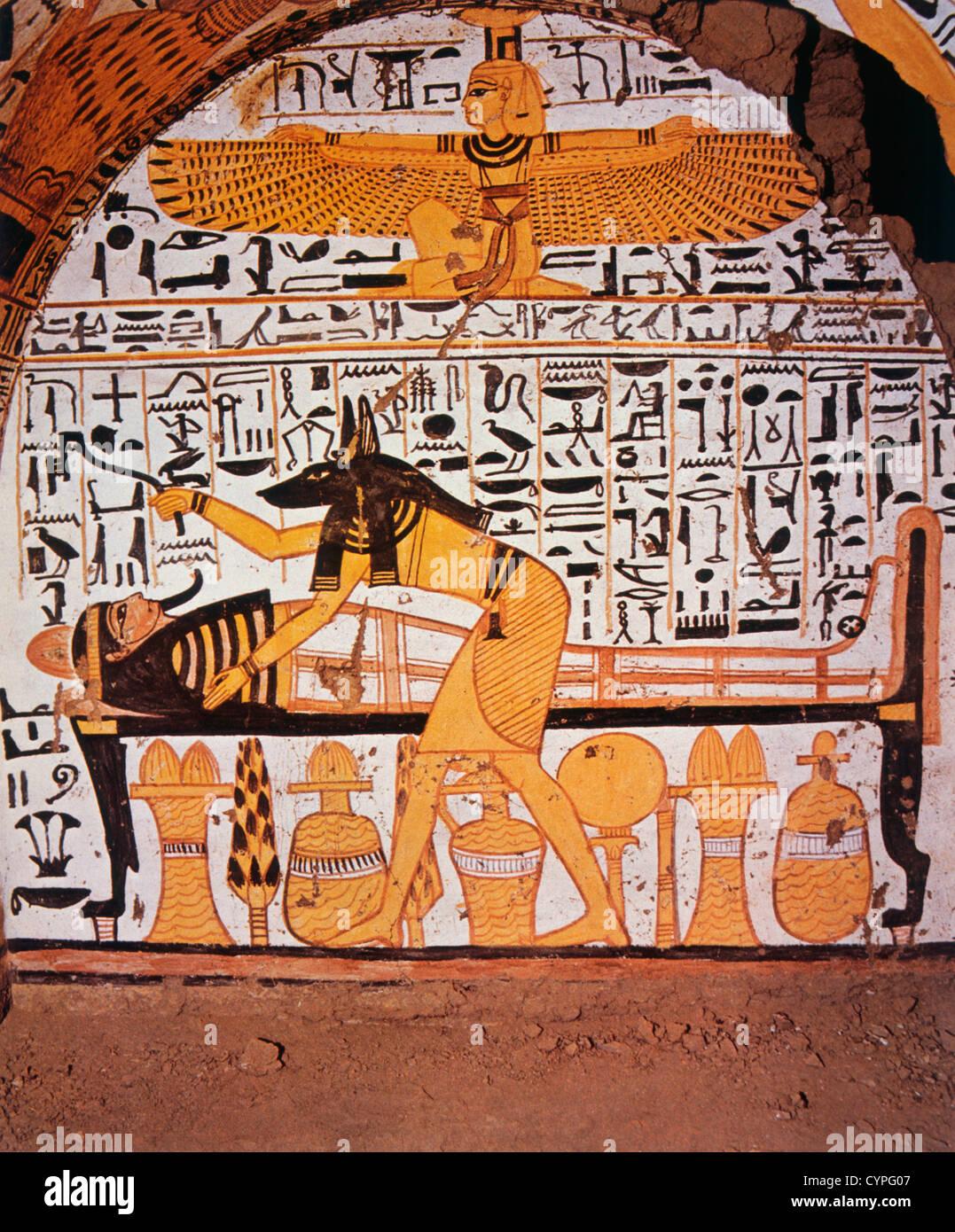 Dios Anubis Preparar A Los Muertos Para Su Viaje Tebas Egipto