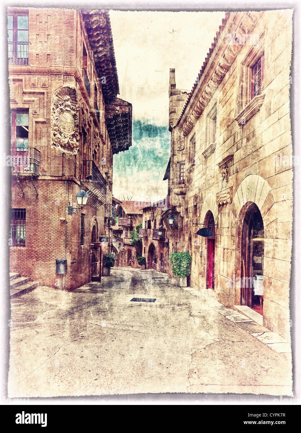 Estilo vintage postal de complejo arquitectónico tradicional en Barcelona, España Imagen De Stock
