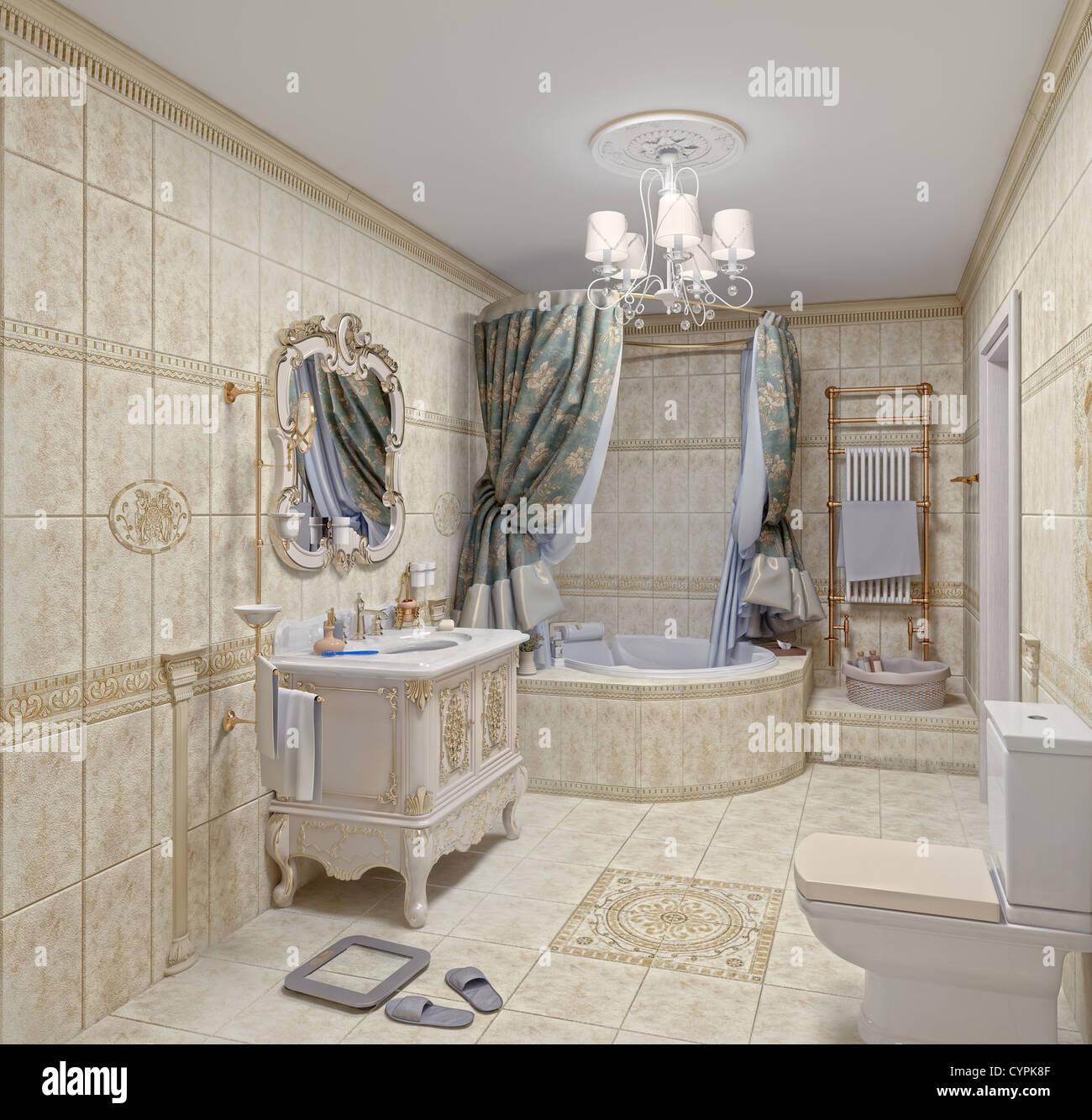El moderno baño con azulejos y espejo interior (3D) Imagen De Stock