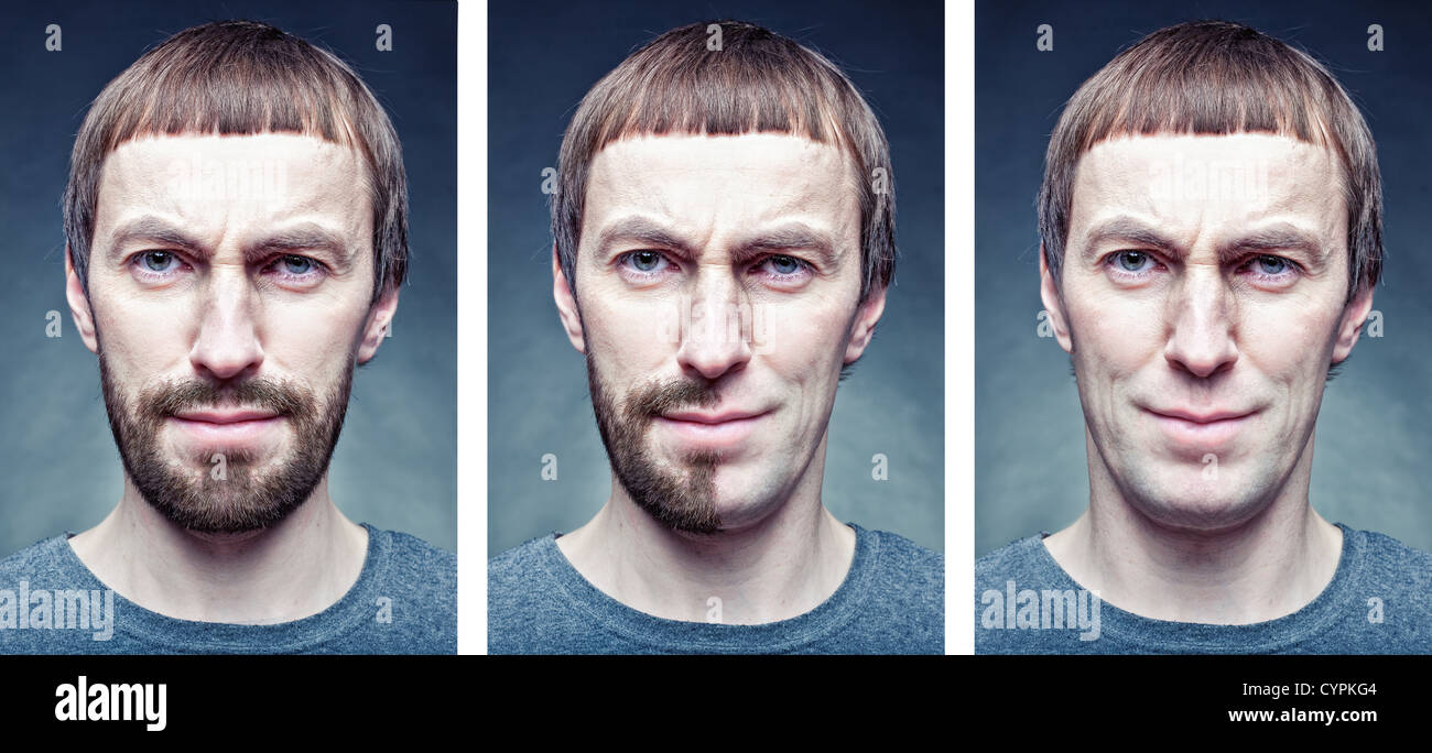 Etapa afeitarse la cara. foto concepto Imagen De Stock
