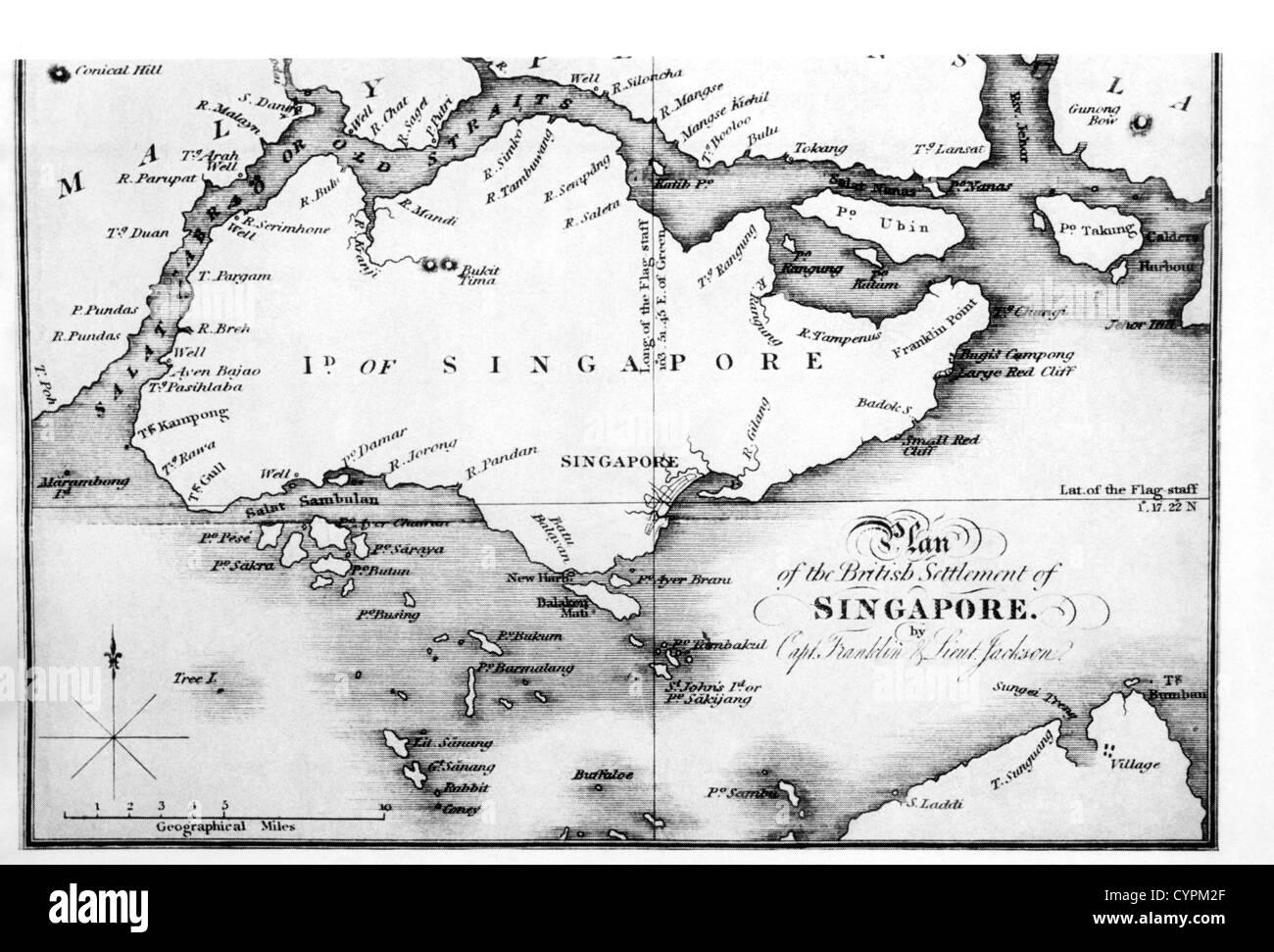 Mapa de la isla de Singapur desde j. Crawford's 'embajada a Siam', 1828 Imagen De Stock