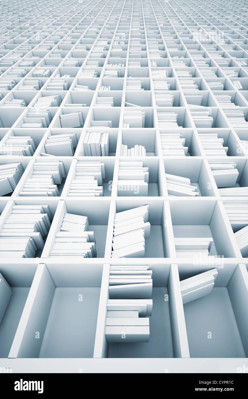 Estanterías blancas interminables (concepto ilustrado) Imagen De Stock