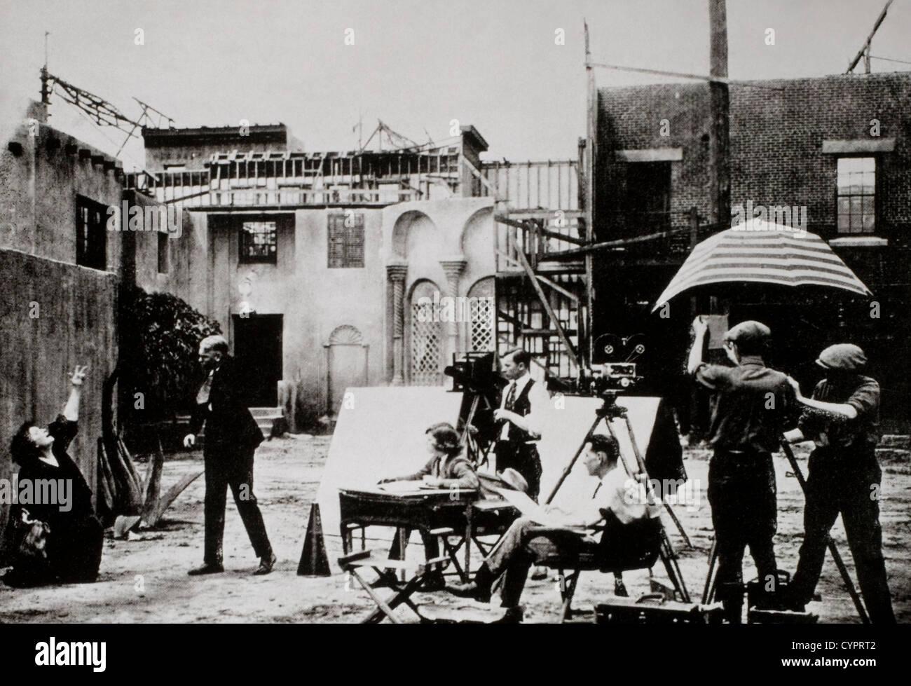 Conjunto de película, Hollywood, California, EE.UU., a comienzos de 1900. Imagen De Stock