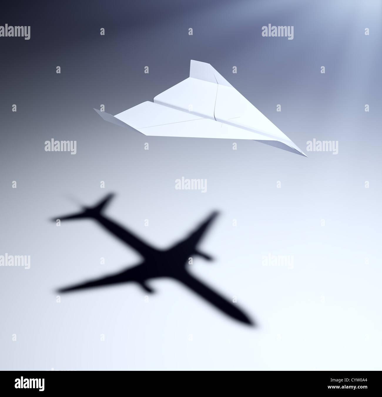 Avión de papel una sombra de un avión - visión y aspiraciones ilustración del concepto Imagen De Stock