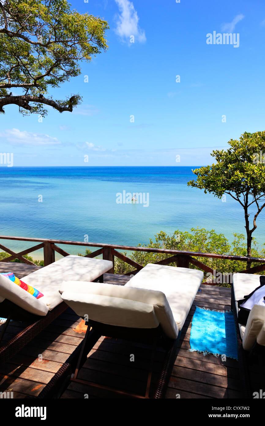 Las vistas desde la terraza de un lujoso lodge Inhaca Island en Mozambique Imagen De Stock