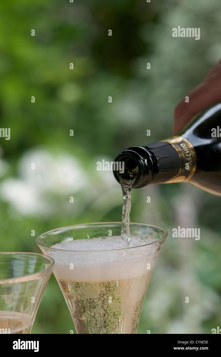 Verter el vino espumoso en el exterior. Foto de stock