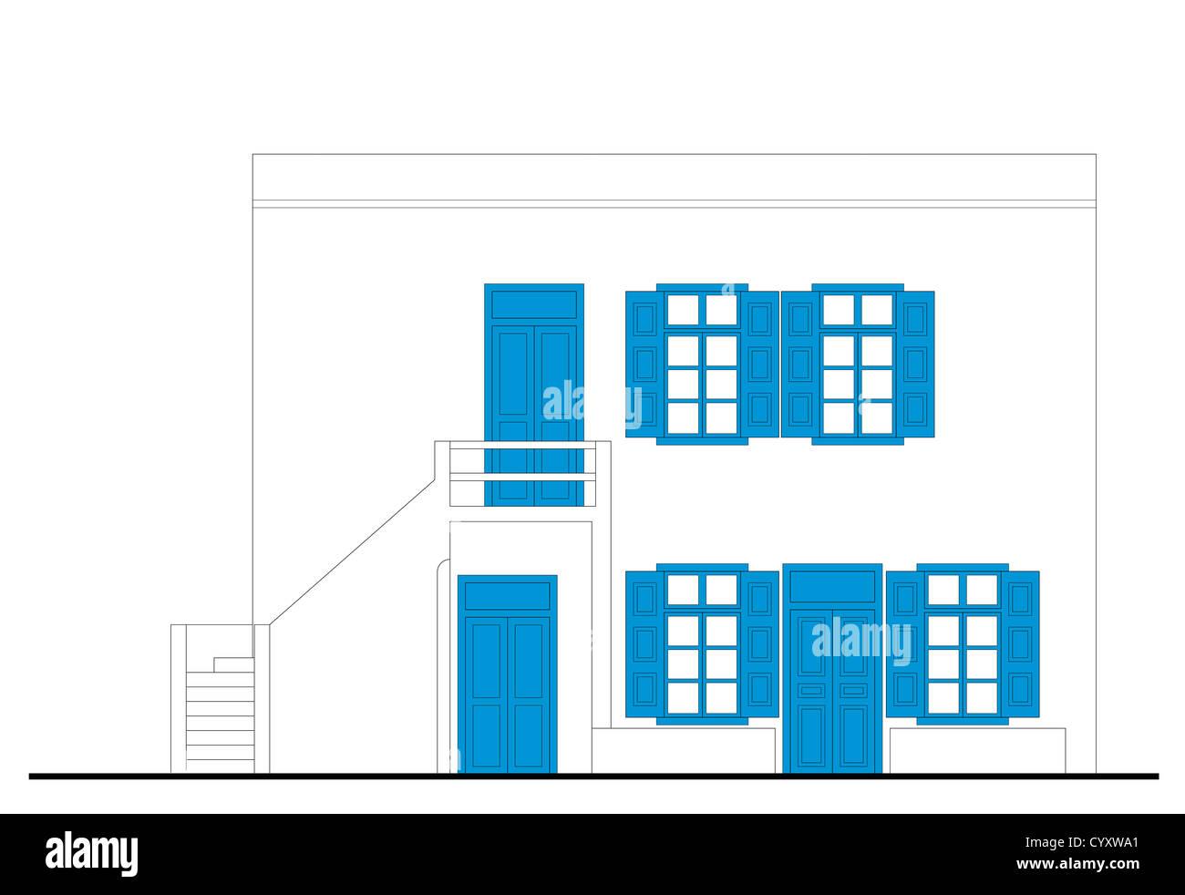 Casa Tradicional En Mykonos Dibujo Arquitectonico Foto Imagen De