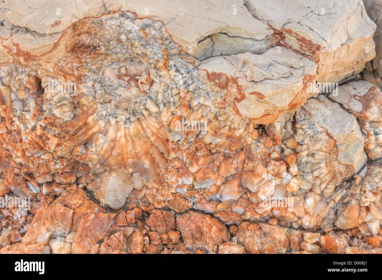 Detalle de la dolomita, calcita, superficie de piedra Foto de stock