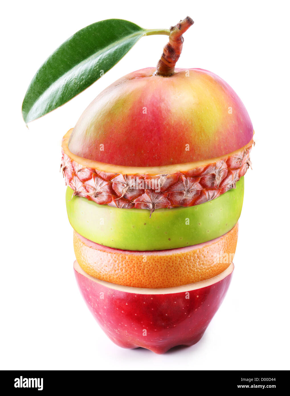 Mezclar la fruta, dispuestas en capas. Exóticos y fabulosos de mango. Aislado en blanco. Imagen De Stock