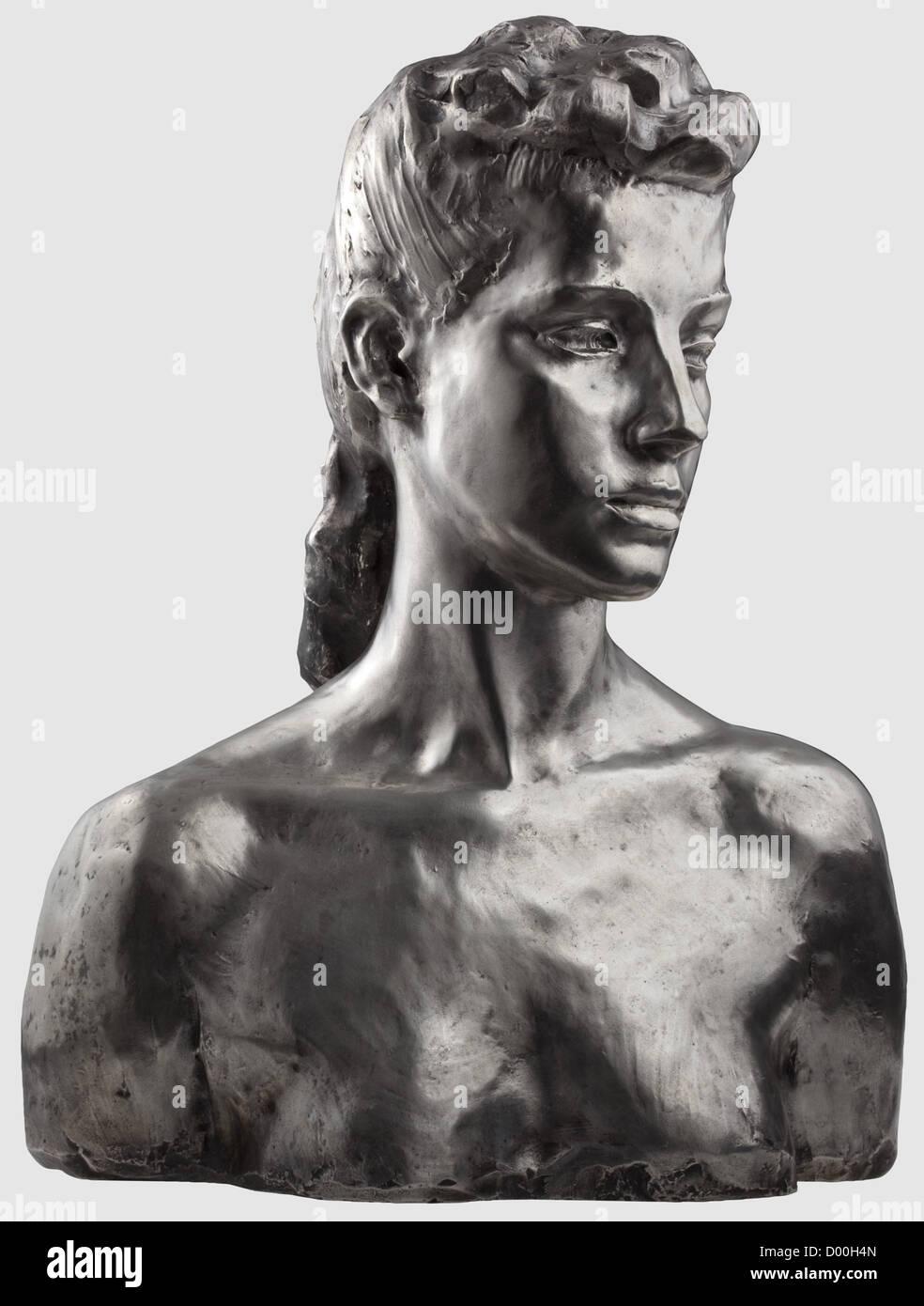 "Una hembra de plata busto - monogrammed 'J', el sello ""Casting Priessmann Bauer & Co München"", Imagen De Stock"