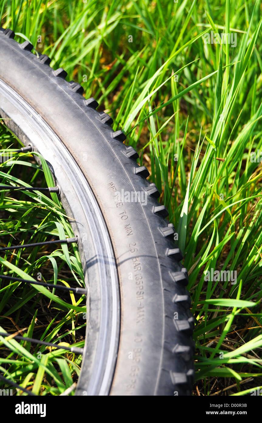 Mountain bike offroad neumático en el pasto verde mostrando el deporte en concepto de naturaleza Imagen De Stock