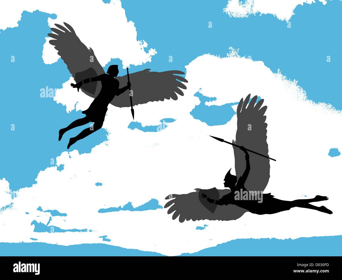 Ilustración De Dos ángeles Volando Sobre Un Fondo De Cielo Azul Foto