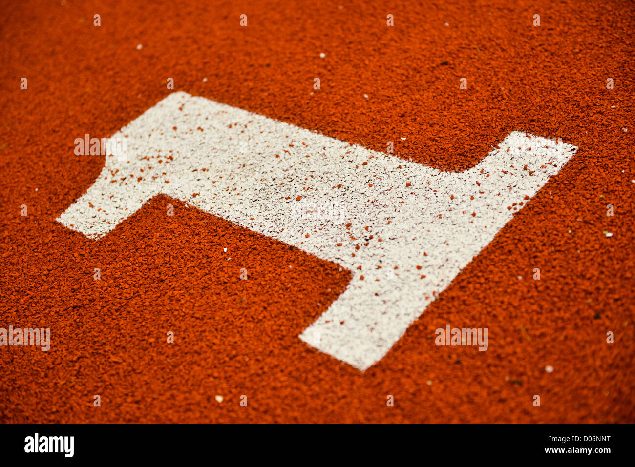Carril número uno en una pista de atletismo Imagen De Stock