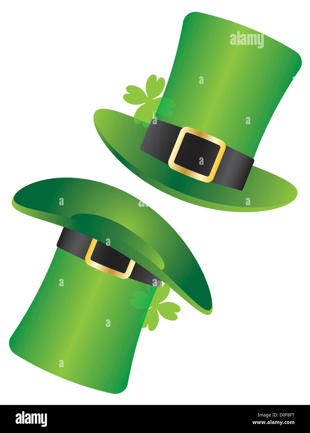 Día de San Patricio sombrero de duende irlandés con ilustración de trébol  de cuatro hojas aisladas sobre fondo blanco. 86906302c66