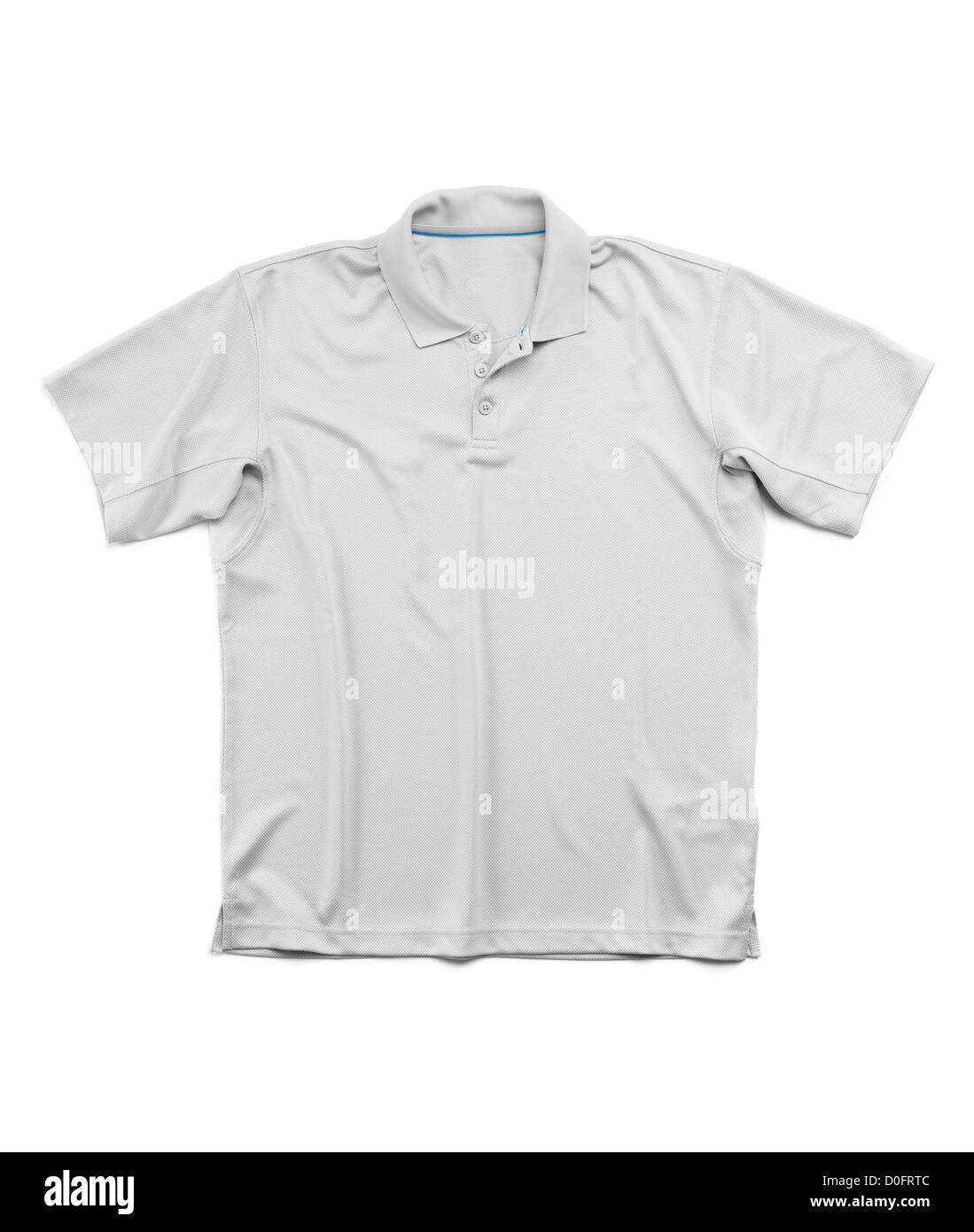 Mens verano gris camiseta manga corta polo aislado sobre fondo blanco. Imagen De Stock