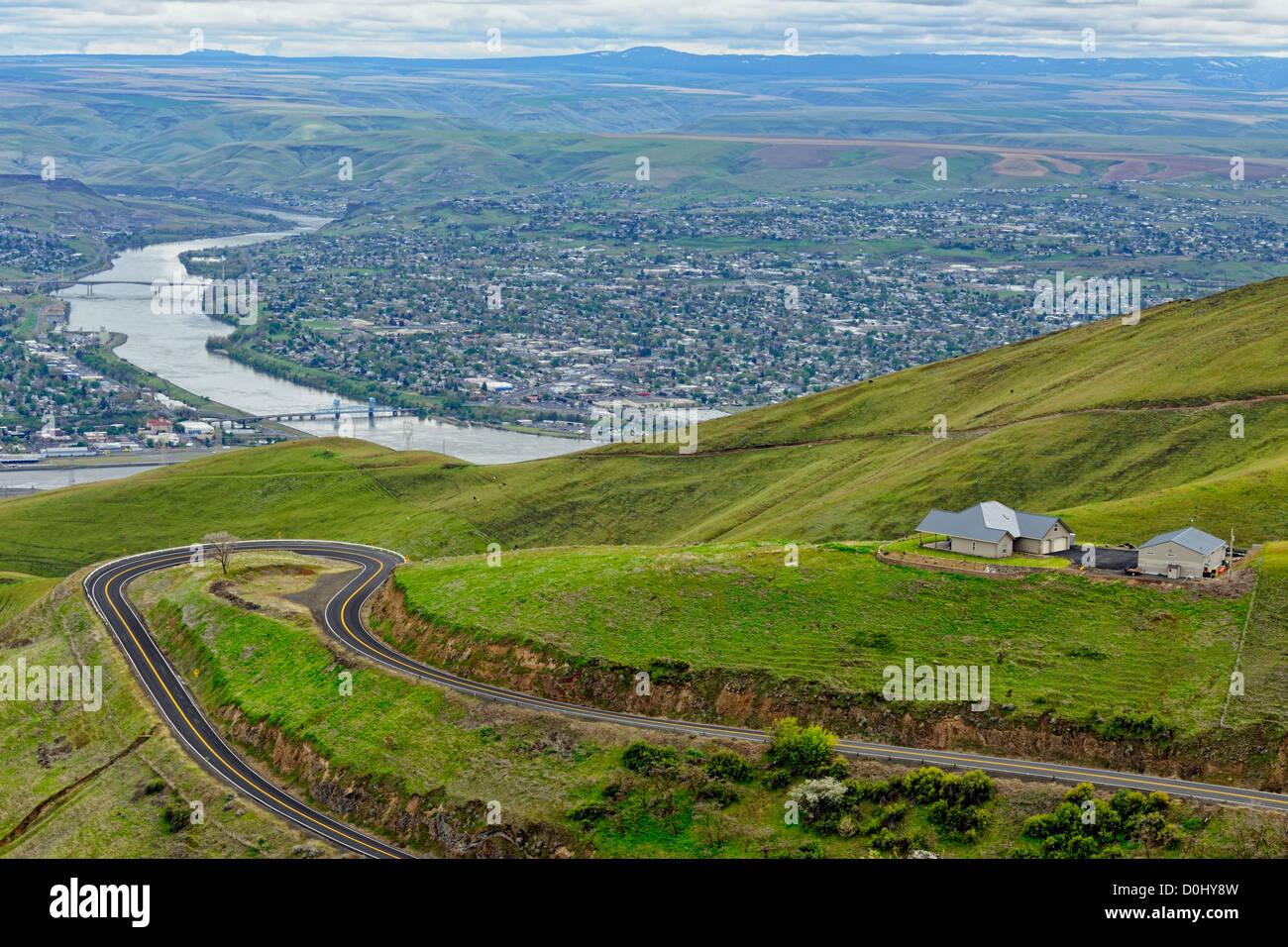 El Río Snake con Lewiston (ID) y Clarkston (WA) desde la colina, Lewiston Lewiston (colina), Idaho, EE.UU. Imagen De Stock