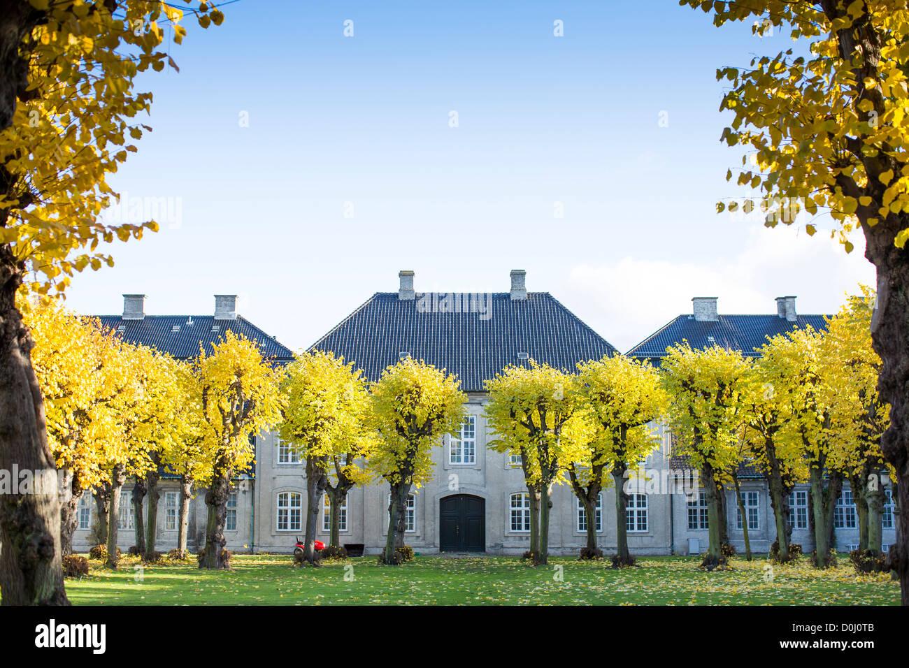 Diseño de Copenhague Museo Patio en otoño con hojas doradas sobre el árbol y un cielo azul. Foto de stock