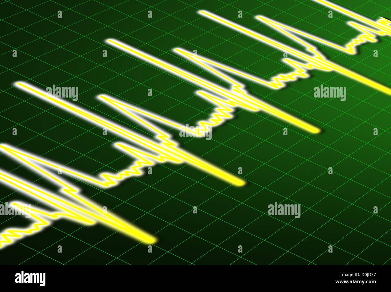 Ecg: línea de impulso de latido de corazón Foto de stock