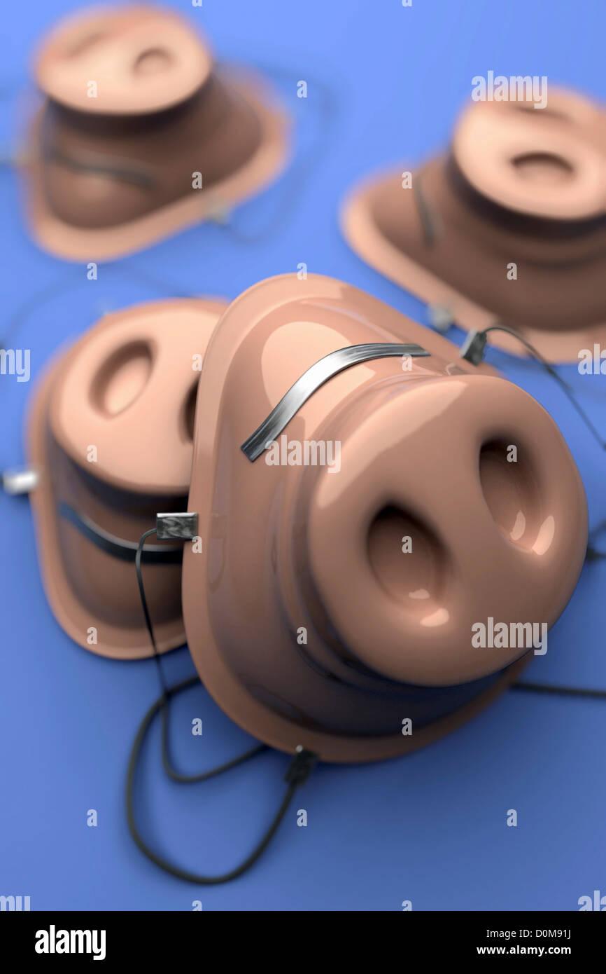Mascarillas concepto imagen con un hocico de cerdo que representa el virus de gripe porcina H1N1 de la infección. Imagen De Stock