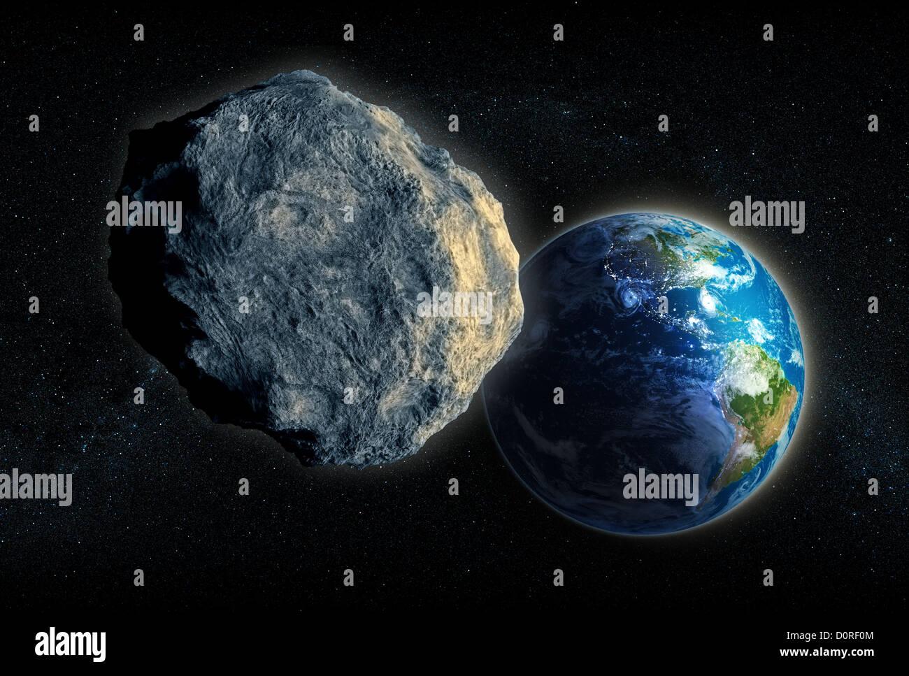 Gran asteroide se cierra en la tierra Imagen De Stock