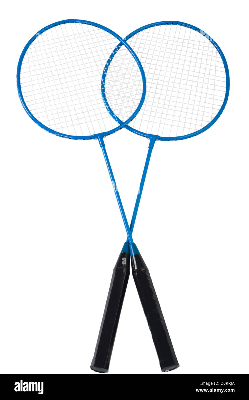 Close-up de dos raquetas de badminton Imagen De Stock
