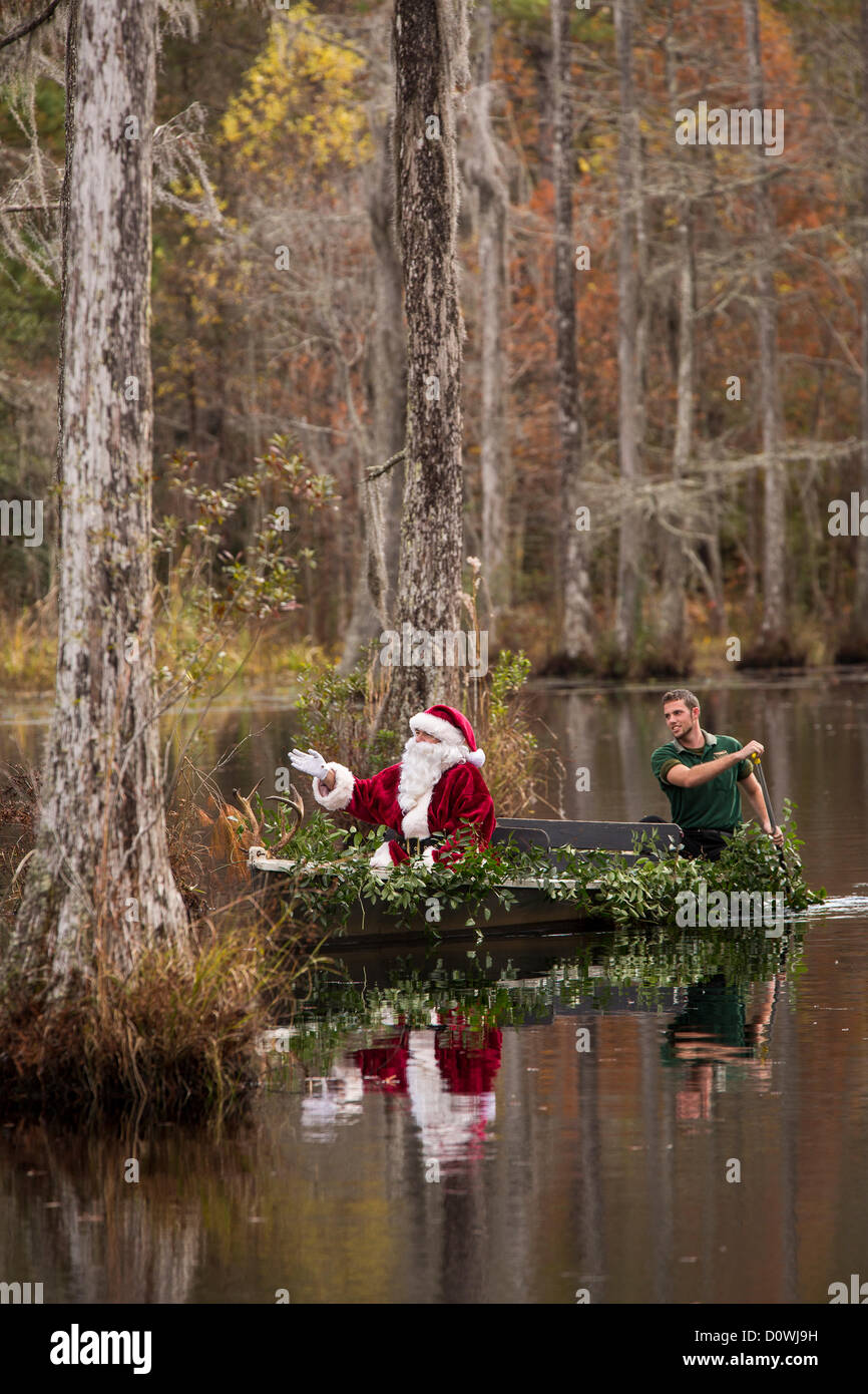 Charleston, EE.UU.. 1 de diciembre de 2012. Santa Claus llega por barco pantano en Cypress Gardens Pantano Diciembre 1, 2012 en Moncks Corner, SC. El parque público ocupa 80 acres de blackwater ciprés calvo y tupelo pantano a las afueras de la ciudad de Charleston. Crédito: Richard Ellis / Alamy Live News Foto de stock