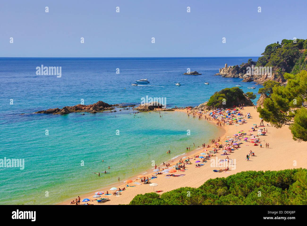 España, Europa, Cataluña, Costa Brava, Lloret de Mar, la ciudad, la playa de Santa Cristina, Lloret, Loret de Mar, Foto de stock