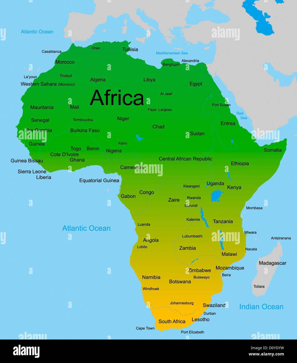 Mapa Del Continente Africano Fotografía De Stock Alamy