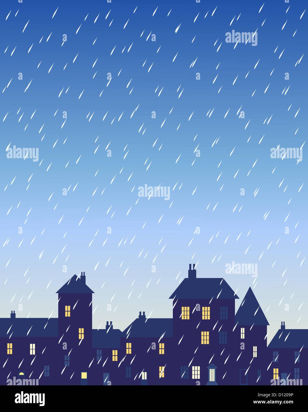 Una ilustración de un día lluvioso en una ciudad con varios edificios con forma y casas con ventanas iluminadas Foto de stock