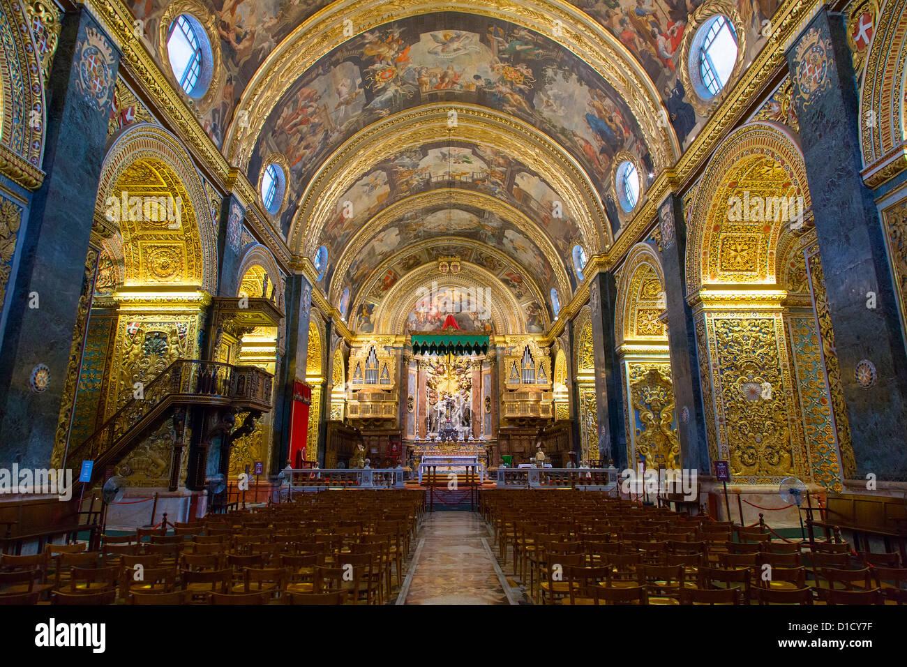 Interior de la concatedral de San Juan, La Valetta, Malta, Europa Foto de stock