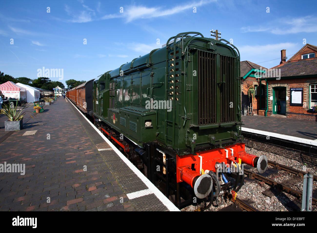 Clase 08 Locomotora D3940 de la adormidera, la línea ferroviaria de North Norfolk, en Sheringham, Norfolk, Imagen De Stock