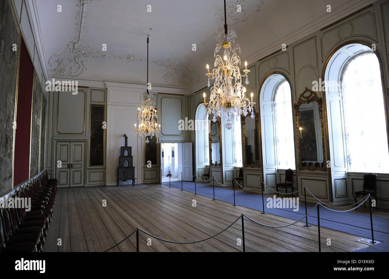 Dinamarca. Copenhague. Museo Nacional de Dinamarca. Gran salón decorado en 1745. En el interior. Foto de stock