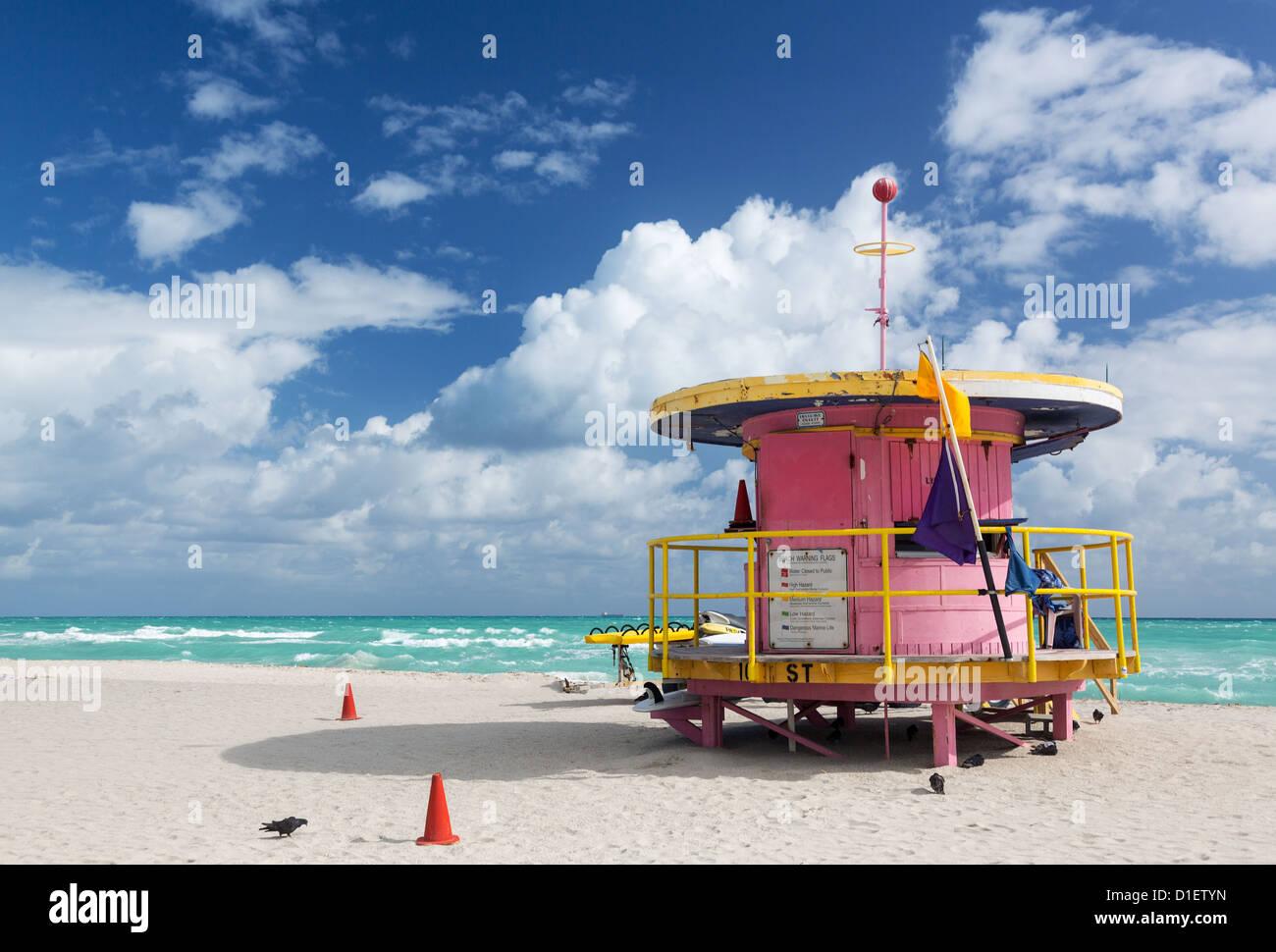 Miami Beach, Florida, EE.UU. - estación de socorrista Imagen De Stock