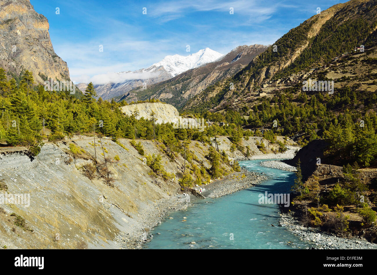 Valle del Río Marsyangdi, Área de Conservación de Annapurna, Gandaki, Región Occidental (Pashchimanchal), Imagen De Stock