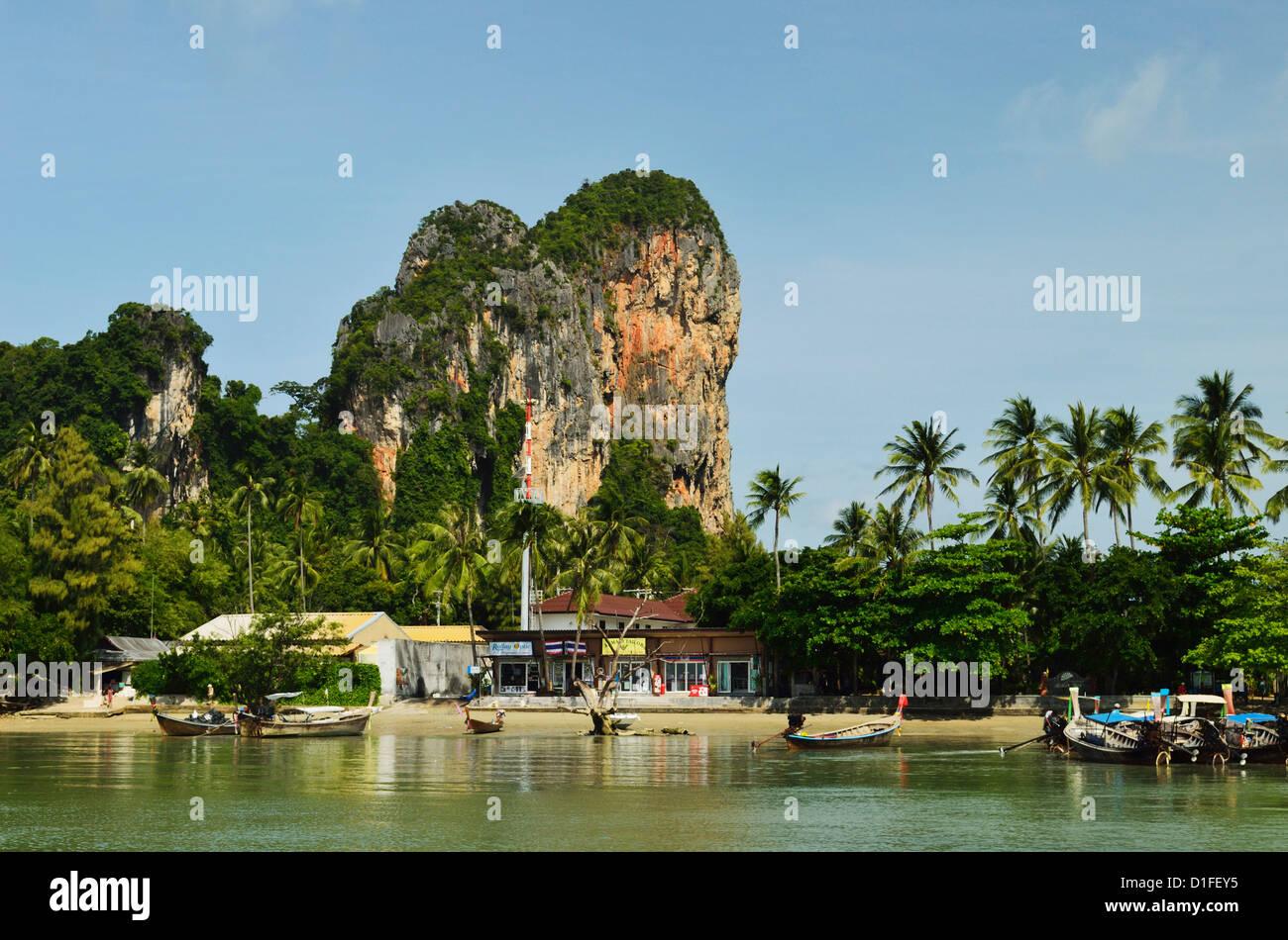 Railay East Bay, Rai Leh (Railay), la costa de Andaman, provincia de Krabi, Tailandia, el sudeste de Asia, Asia Imagen De Stock