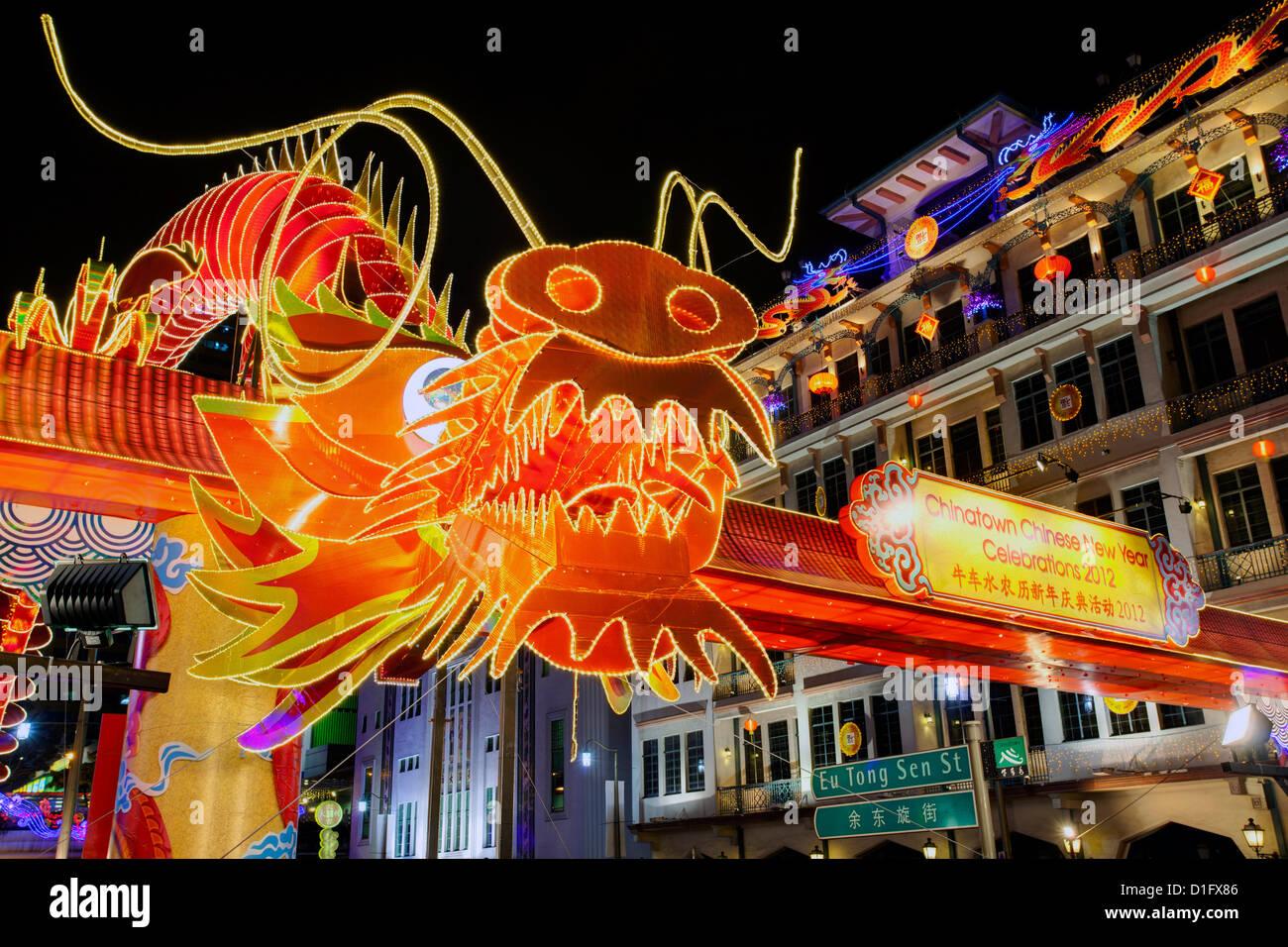 Celebraciones del Año Nuevo Chino, New Bridge Road, Chinatown, Singapur, Sudeste de Asia, Asia Imagen De Stock