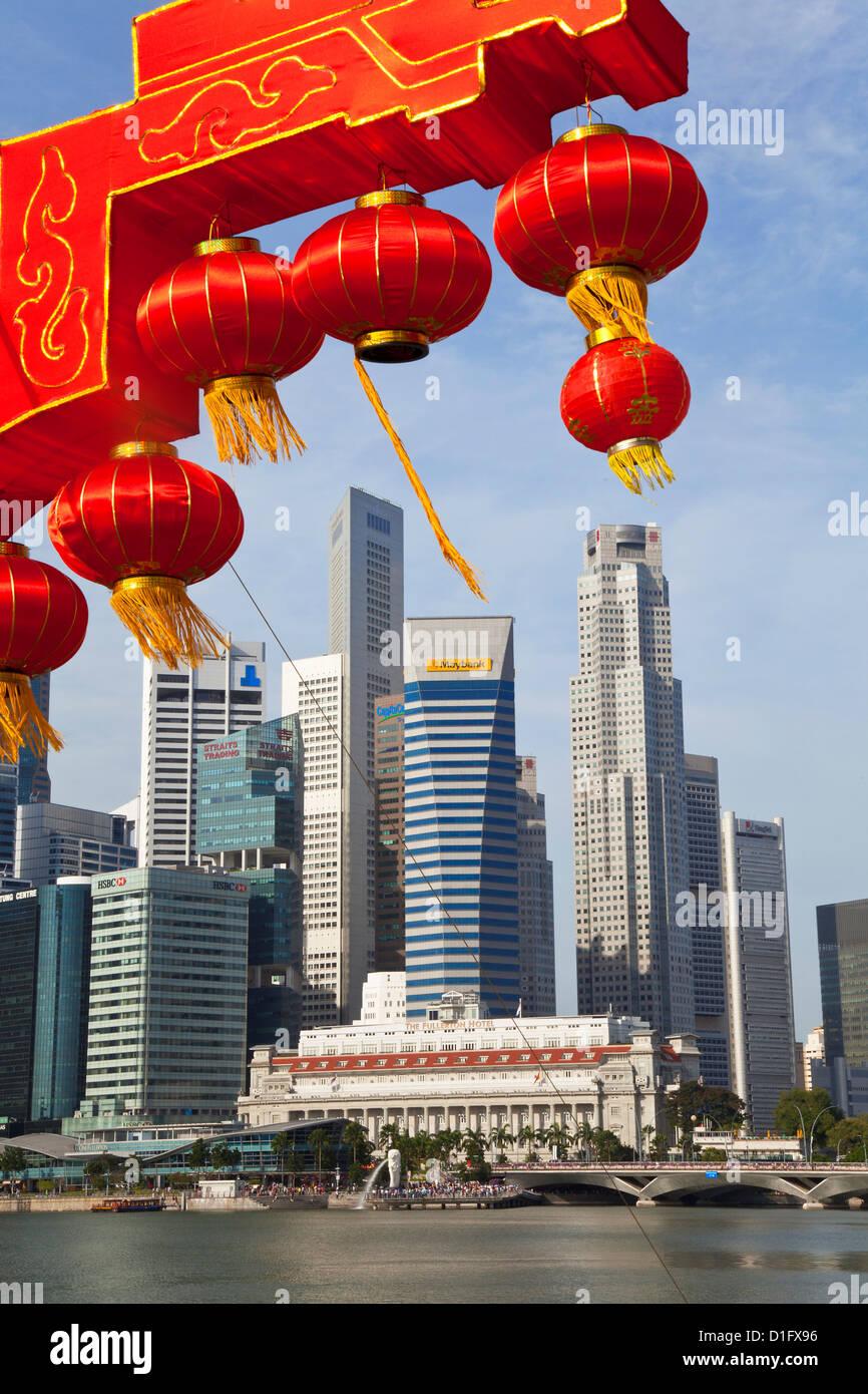 Ciudad kkyline y del distrito financiero de Singapur, Sudeste de Asia, Asia Imagen De Stock