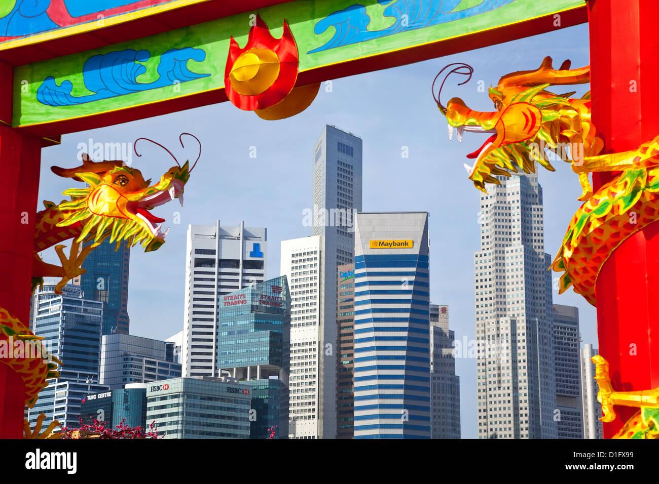 El horizonte de la ciudad y del distrito financiero de Singapur, Sudeste de Asia, Asia Imagen De Stock