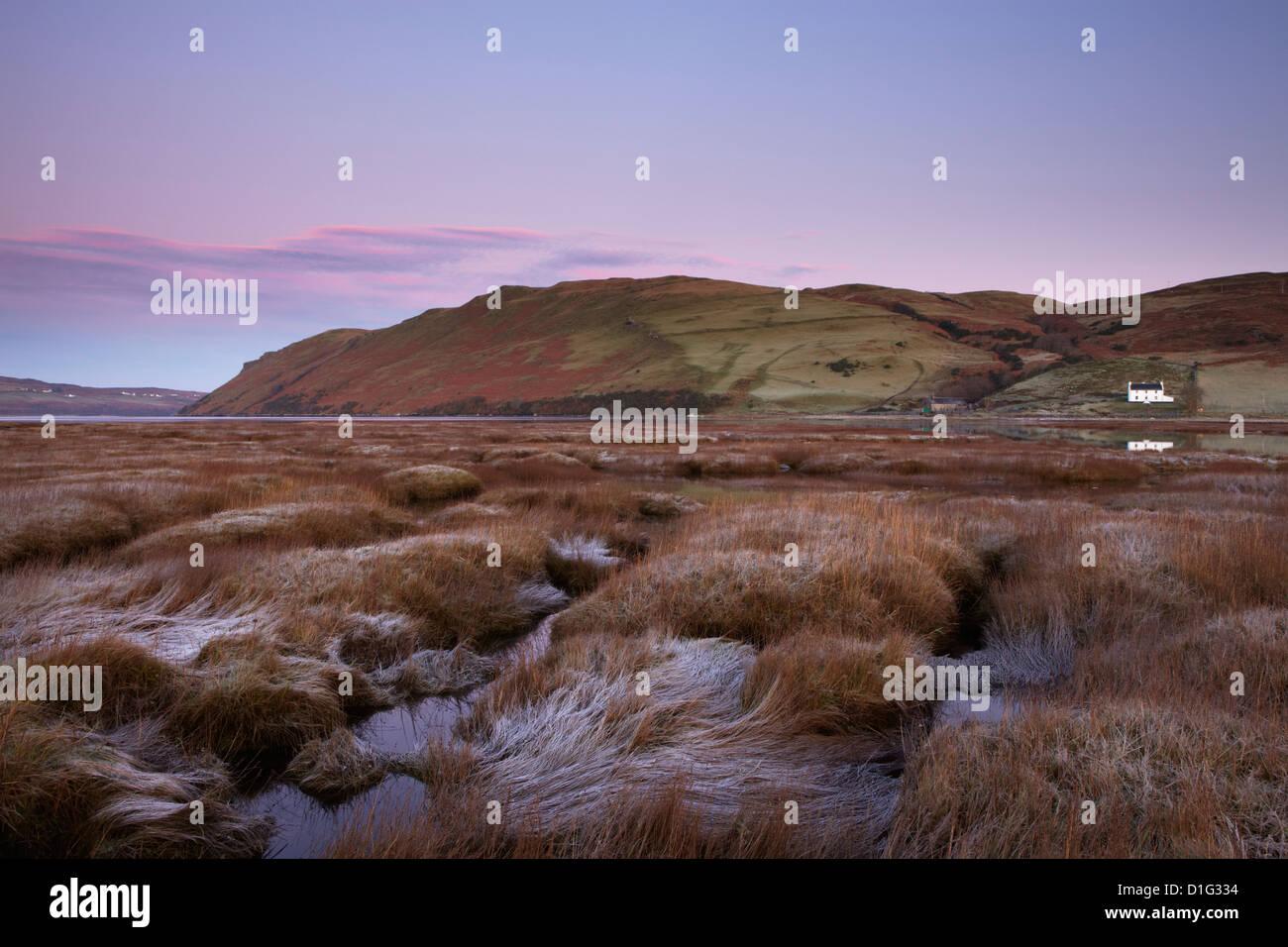 Marea baja en una hermosa mañana en el Loch Harport, Isla de Skye, Escocia, Reino Unido, Europa Foto de stock