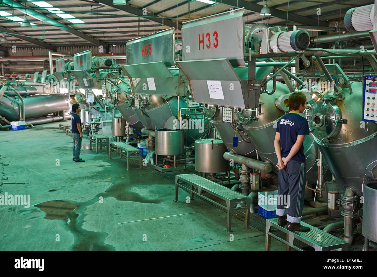 Inspecciona los trabajadores están teñidos en máquinas de tela Imagen De Stock